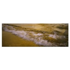 High angle view of waves on the beach, Lake Pielin Poster