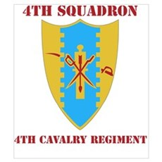 DUI - 4th Sqdrn - 4th Cavalry Regt with Text Mini Framed Print