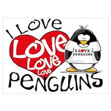 I Love Love Love Penguins Wall Art Poster