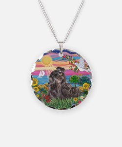 AutumnSun-BlkShihTzu Necklace Circle Charm