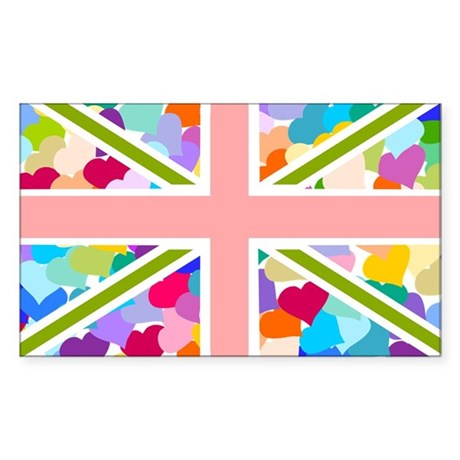 Heart filled Union Jack Flag Sticker (Rectangle)