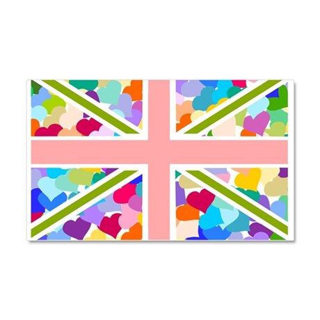 Heart filled Union Jack Flag Car Magnet 20 x 12