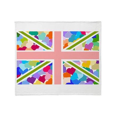 Heart filled Union Jack Flag Throw Blanket