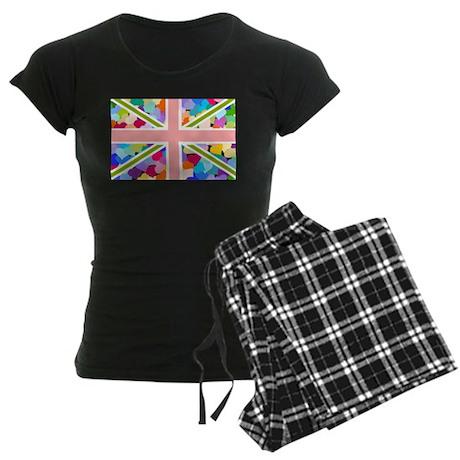 Heart filled Union Jack Flag Women's Dark Pajamas