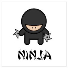 Ninja Throwing Star Wall Art Framed Print