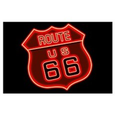 Route 66 Neon Wall Art Poster