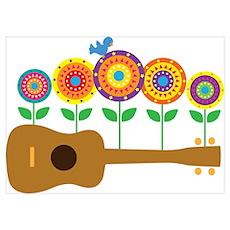 Ukulele Flowers Wall Art Poster