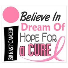 BELIEVE DREAM HOPE Breast Cancer Wall Art Framed Print