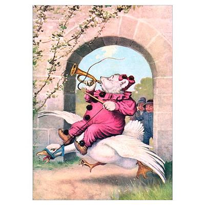 Roosevelt Bear Rides a Goose Wall Art Poster