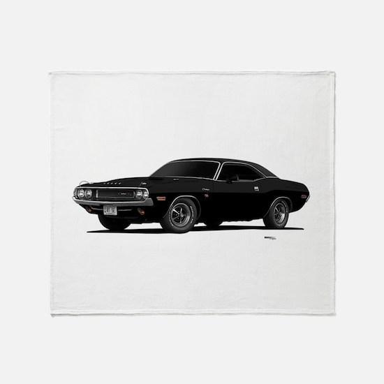 1970 Challenger Black Throw Blanket