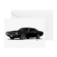 1970 Challenger Black Greeting Card