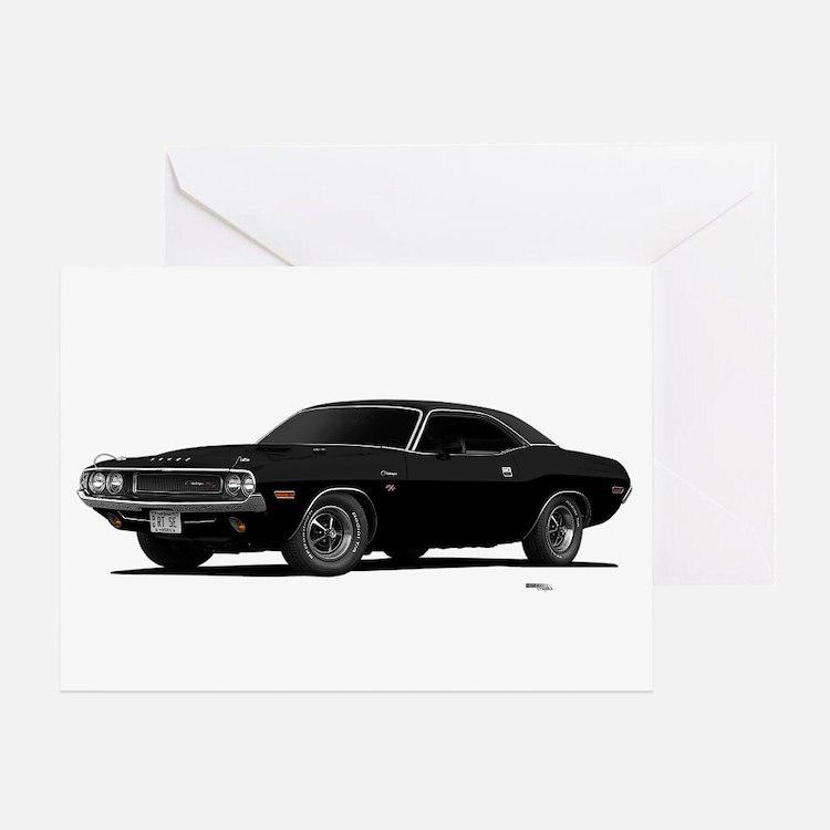 1970 Challenger Black Greeting Card
