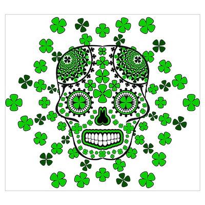 Shamrock Sugar Skull 2 Wall Art Poster
