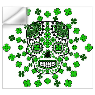 Shamrock Sugar Skull 2 Wall Art Wall Decal