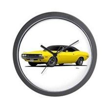 1970 Challenger Bright Yellow Wall Clock
