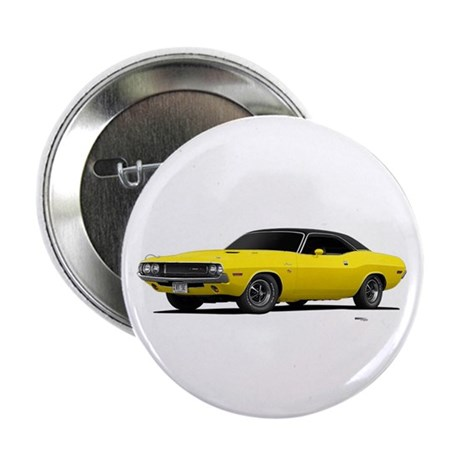 """1970 Challenger Bright Yellow 2.25"""" Button"""
