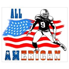 All American Football player Wall Art Poster