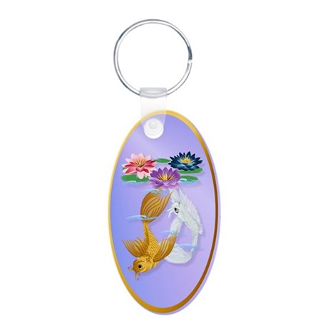 Gold and Silver Koi with Lili Aluminum Oval Keycha