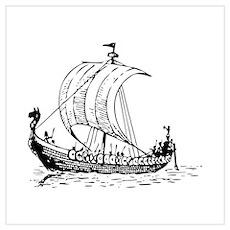 Viking Ship Wall Art Poster