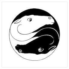 Horse Yin Yang Wall Art Poster