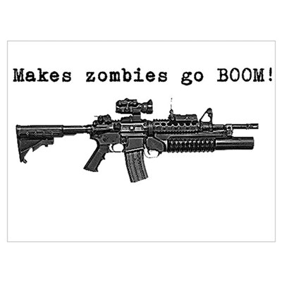 Make zombies go BOOM! Wall Art Framed Print
