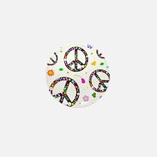 Peace symbols and flowers pat Mini Button