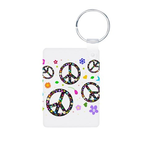 Peace symbols and flowers pat Aluminum Photo Keych