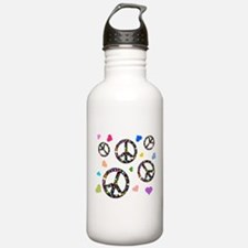 Peace signs and hearts patter Water Bottle