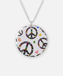 Peace signs and hearts patter Necklace