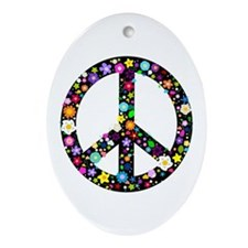 Hippie Flowery Peace Sign Ornament (Oval)