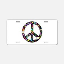 Hippie Flowery Peace Sign Aluminum License Plate