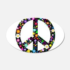 Hippie Flowery Peace Sign 22x14 Oval Wall Peel