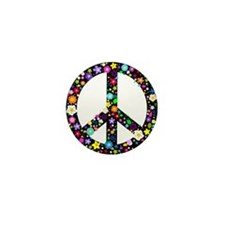 Hippie Flowery Peace Sign Mini Button (10 pack)