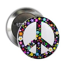"""Hippie Flowery Peace Sign 2.25"""" Button"""