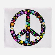 Hippie Flowery Peace Sign Throw Blanket