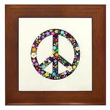 Hippie Flowery Peace Sign Framed Tile