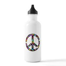 Hippie Flowery Peace Sign Water Bottle