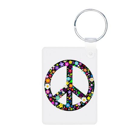 Hippie Flowery Peace Sign Aluminum Photo Keychain