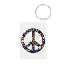 Hippie Flowery Peace Sign Keychains