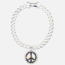 Hippie Flowery Peace Sign Bracelet