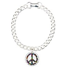 Hippie Flowery Peace Sign Charm Bracelet, One Char