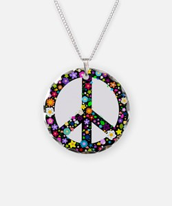 Hippie Flowery Peace Sign Necklace