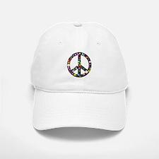 Hippie Flowery Peace Sign Baseball Baseball Cap