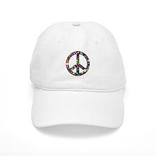 Hippie Flowery Peace Sign Baseball Cap