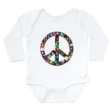 Hippie Flowery Peace Sign Long Sleeve Infant Bodys