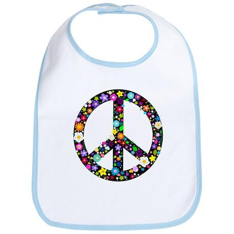 Hippie Flowery Peace Sign Bib