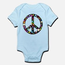 Hippie Flowery Peace Sign Infant Bodysuit