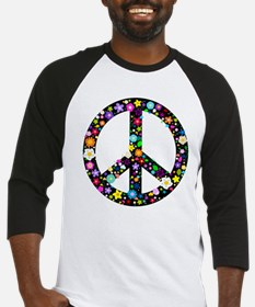 Hippie Flowery Peace Sign Baseball Jersey