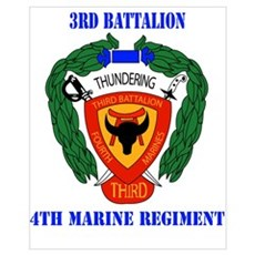 3rd Battalion 4th Marines with Text Wall Art Framed Print