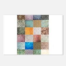Patchwork Quilt squares patte Postcards (Package o